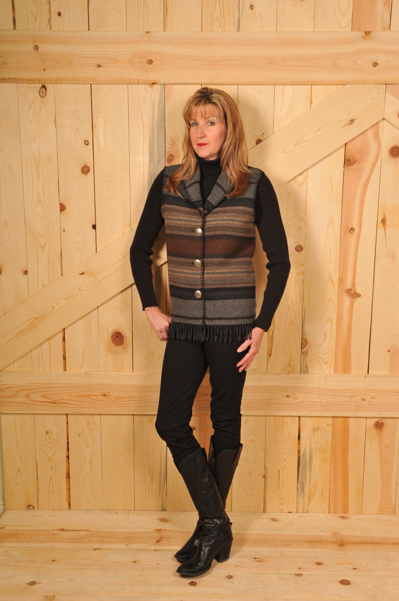 #131SCHF - CHARCOAL SERAPE FRINGE SHAWL COLLAR VEST - WAS $84.95 -- SALE $42.48 -- SMALL ONLY!