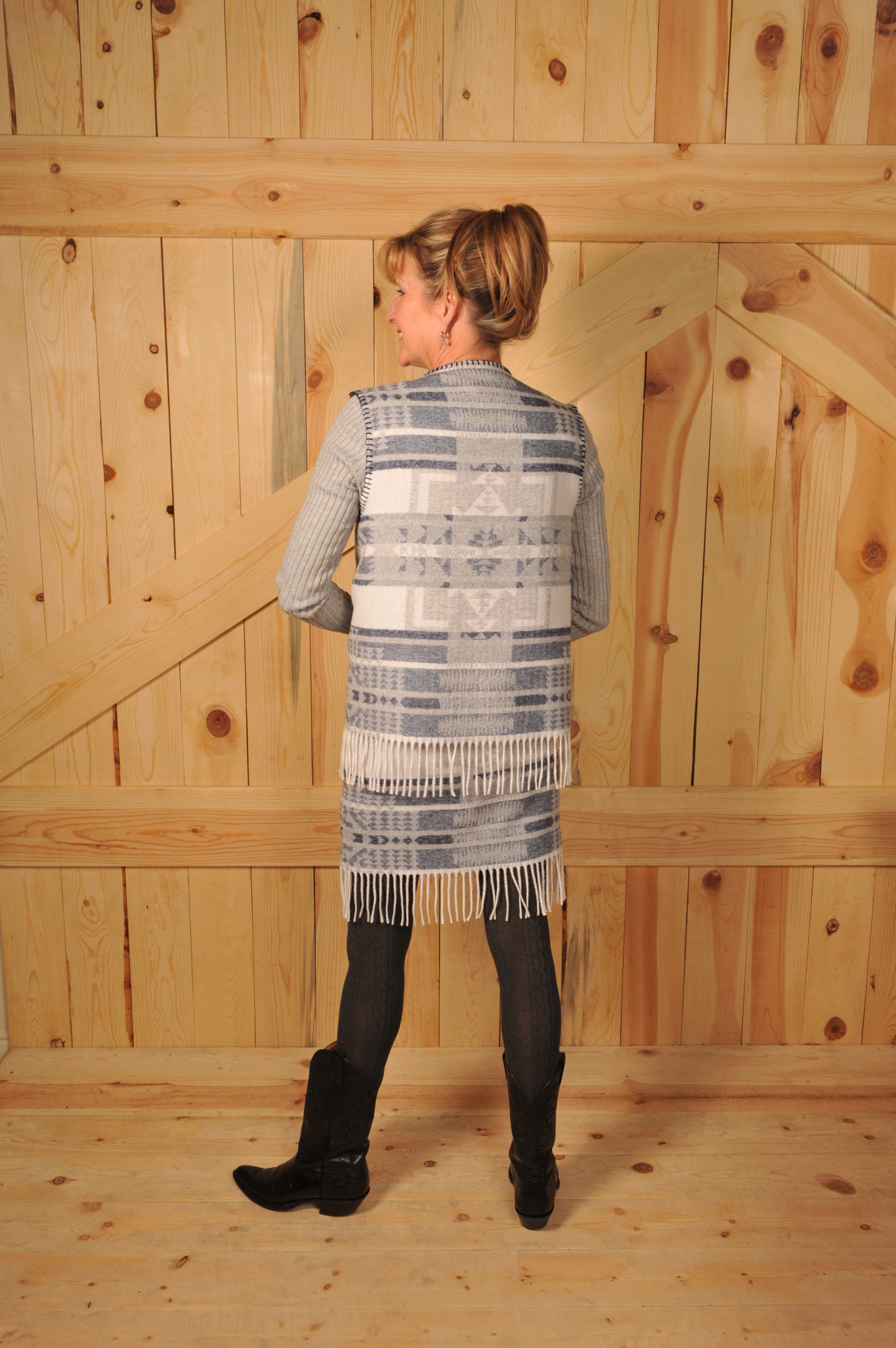 #121IVF - INDIGO VALLEY FRINGE V-VEST - SALE $37.48 -- SMALL ONLY!