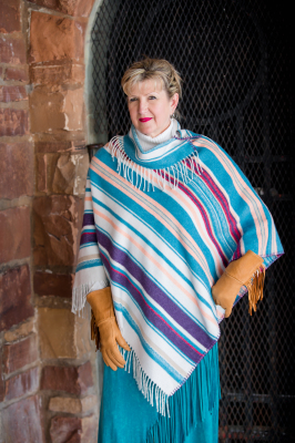 #208PM - PIMA COTTON blend BUTTON COLLAR FRINGE PONCHO - O/S - WAS $129.95 - NOW $64.98 - 50% OFF!!