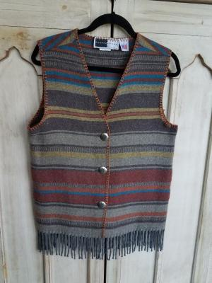 #121ADF - ADOBE FRINGE V-VEST -- WAS $74.95-- SALE $37.48.  SMALL ONLY!