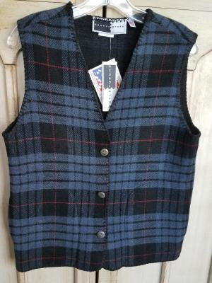 #129TPB - BLUE TARTAN PLAID V-VEST -- WAS $84.95 -- SALE $42.47 -- SMALL ONLLY!