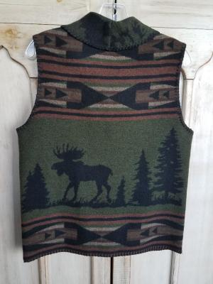 #130MCG - GREEN MOOSE CROSSING SHAWL VEST - BACK