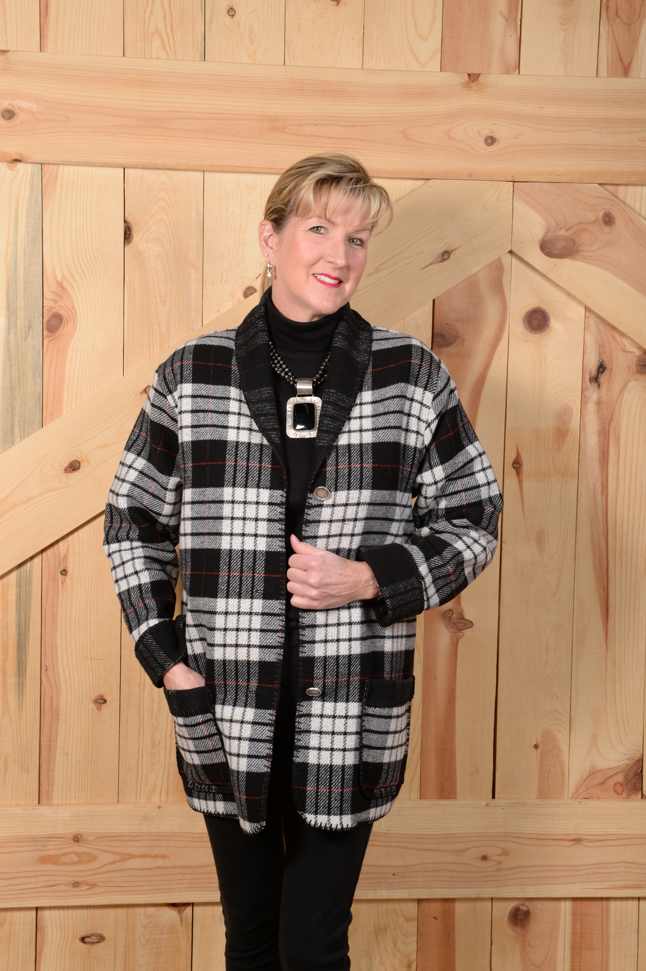#875TPW - WHITE TARTON PLAID CAR COAT - SALE $89.97 -- SMALL ONLY!