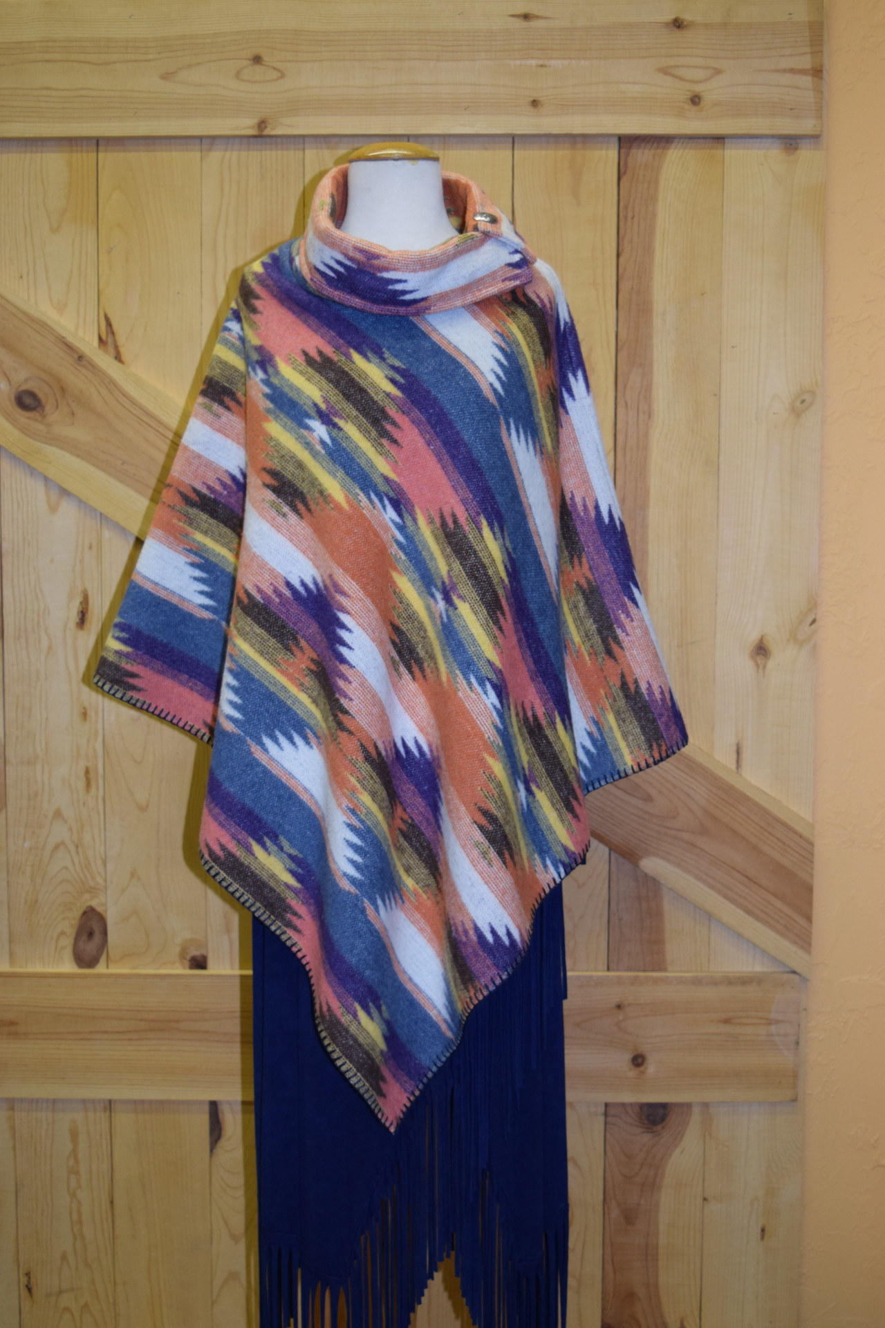 #208ASST. - COL. 4 - BUTTON COLLAR PONCHO - O/S - WAS $129.95 -- SALE $99.95