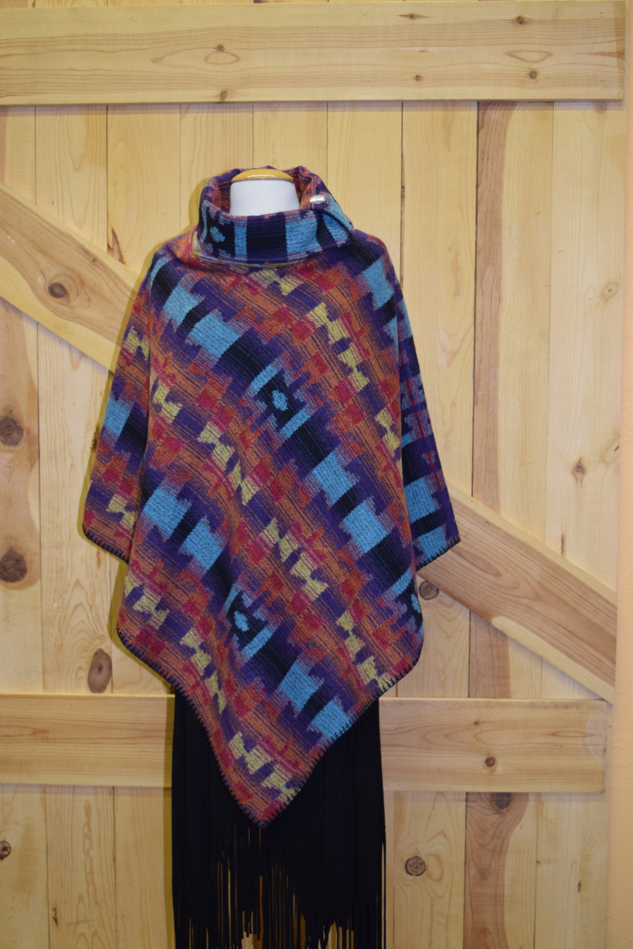 #208ASST. COL. 02 - JEWEL BIG SKY BUTTON COLLAR PONCHO - O/S -- WAS $129.95 -- SALE $99.95