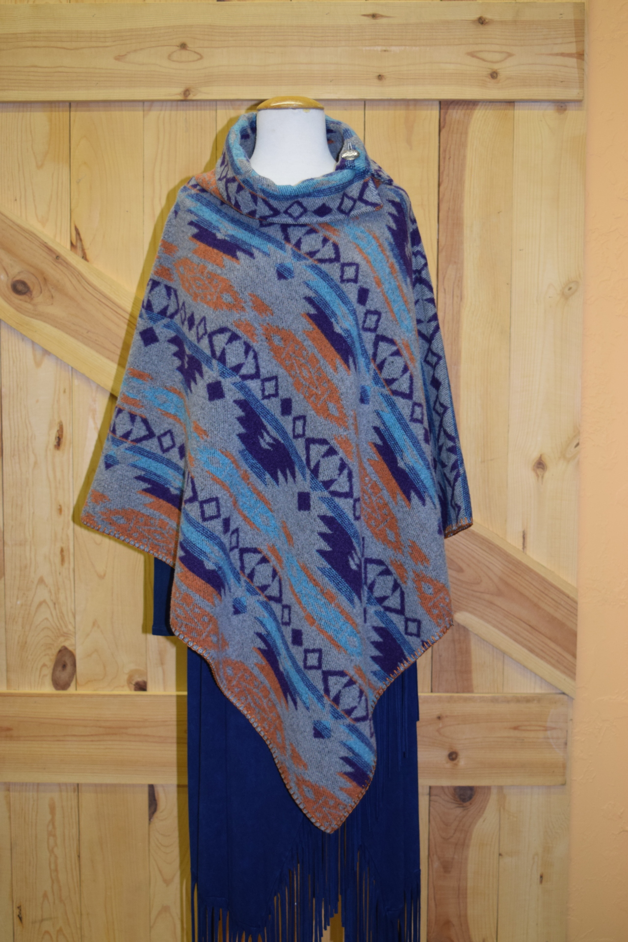 "#208ASST. COL 03 - BUTTON COLLAR 30"" PONCHO - O/S - WAS $129.95 -- SALE $99.95"