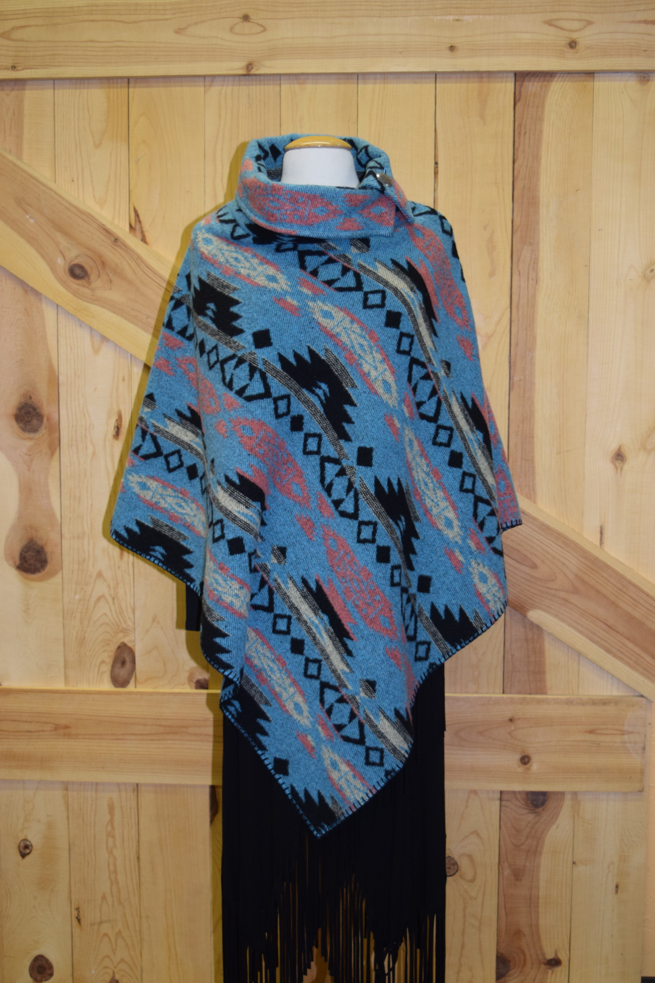 "#208ASST. COL. 05 - BUTTON COLLAR 30"" PONCHO - O/S - WAS $129.95 -- SALE $99.95!"