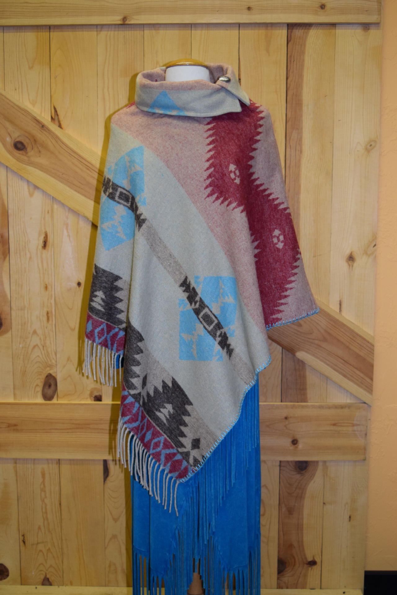 #208ASST. LRF - ANTIQUE L/R FRINGE BUTTON COLLAR PONCHO - O/S - $129.95 -- SALE $99.95